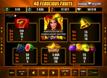 40 Ferocious Fruits™ Paytable