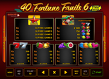 40 Fortune Fruits 6™ Paytable
