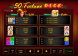 50 Fortune Dice™  Paytable