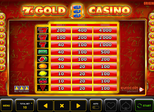 7´s Gold Casino Paytable
