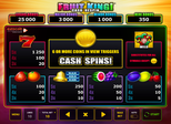Fruit King!™ Cash Respin Paytable